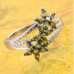 Simulated Green Diamond Floral Ring TGW 1.75 cts.